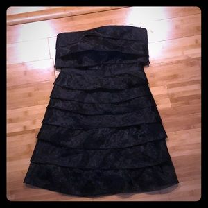 Black strapless mini dress
